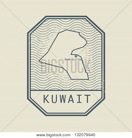Stamp with the name and map of Kuwait, vector illustration