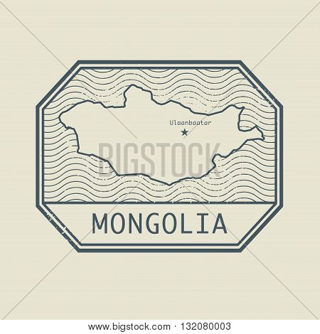 Stamp with the name and map of Mongolia, vector illustration