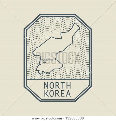Stamp with the name and map of North Korea, vector illustration