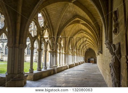 Bayonne France - May 21 2016: Cloister of Sainte-Marie de Bayonne Cathedral. Bayonne Aquitaine. France