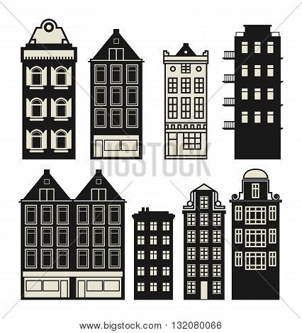 Old Holland houses set on white background, vector illustration