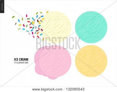 Few ice cream scoops on a white background - a vector cartoon flat illustration of vanilla, pink fruit, white and blue mint ice cream scoops on a white backround and a hip of colorful sprinkles
