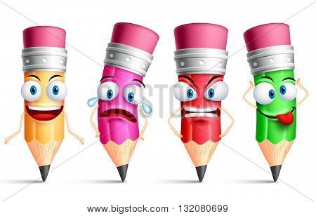 Vector pencil character or mascot colorful set with facial expressions, emotions and hand gestures isolated in white background. Vector illustration.