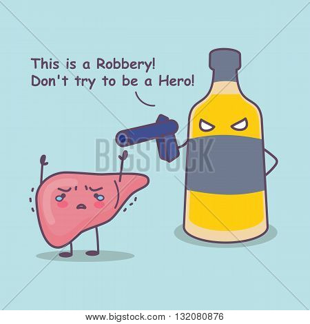 cute cartoon liver robbery by unhealthy liquor great for health care concept