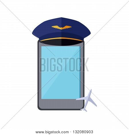Telephone in the pilot cap isolated on white background. Aviator work profession occupation and technology telephone equipment with touch display wear captain cap flat style. Vector illustration