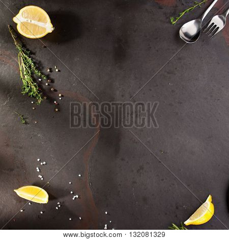 Food Ingredient with Spices on Black Background