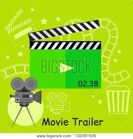 Movie trailer camera with slapstick. Movie film or trailer for cinema entertainment. Video cinematography poster. Action and clapperboard equipment design flat style concept. Vector illustration