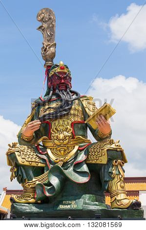 KOH SAMUI THAILAND - MARCH 26 2016 : Statue of Guan Yu in Samui. Shrine Guan yu is a Chinese godwho have red face god