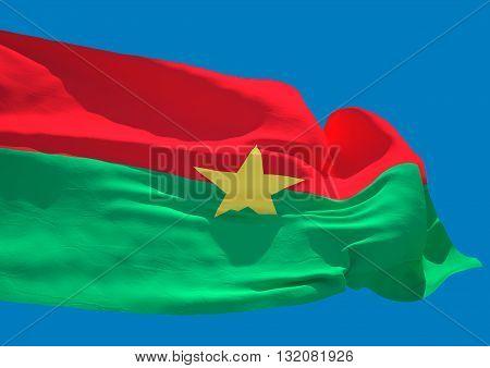 Burkina Faso wave flag HD West Africa