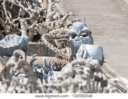 Skull in Wat Rong Khun, @ Thailand.