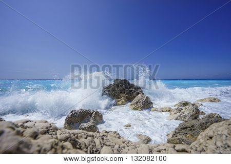 The Ionian sea in Lefkada Greece Kathisma beach