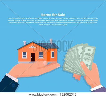 House for sale. Broker keeps the house on the palm and buyer gives the money dollars. Vector illustration