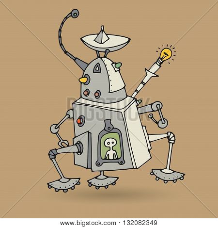 Cute robot doodle hand drawing, vector illustration