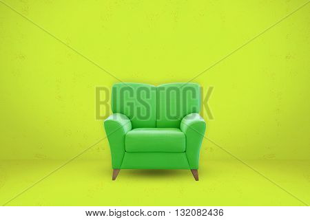 Green sofa seat on green room background. Modern sofa seat.