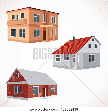 Set of 3D Vector House Icons. Buildings Set Ready for Your Text and Design.