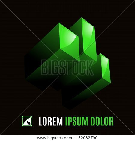 Green element from three geometric figures in space on the black background