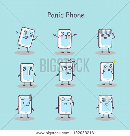 Panic cartoon smart phone set great for your design