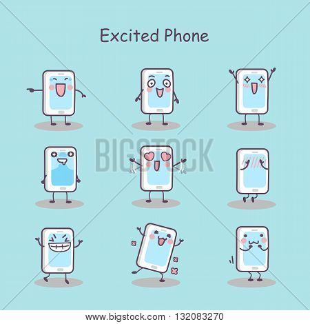 Excited cartoon smart phone set great for your design