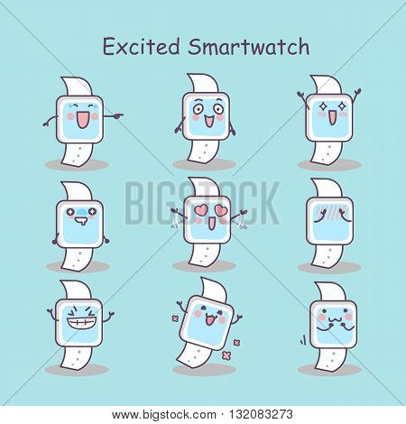 Excited cartoon smart watch set great for your design