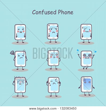 Confused cartoon smart phone set great for your design