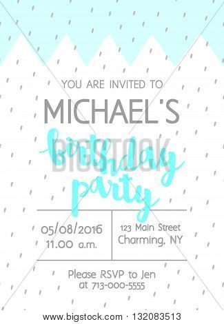 Vector Cute Kids Birthday Party Invitation With Lettering For Boy. Background Brush Strokes Confetti