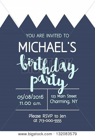 Vector Cute Kids Birthday Party Invitation With Lettering For Boy. Background With Crown