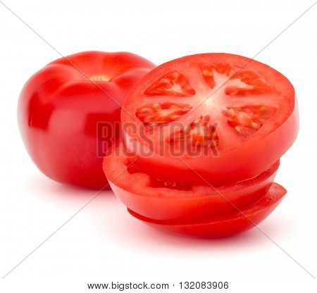 sliced tomato tower isolated on white background cutout