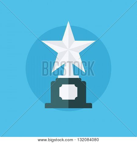 Silver star award. Winner concept with trophy icon. Silver star award icon. Flat vector illustration.
