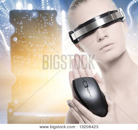 Beautiful cyber woman isolated over abstract background