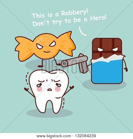 cute cartoon teeth robbery by unhealthy candy and chocolate great for health dental care concept