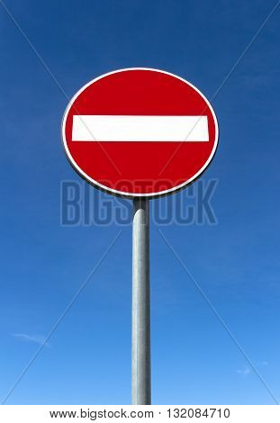 Road sign ban of access against the blue sky