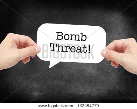 Bomb threat written on a speechbubble