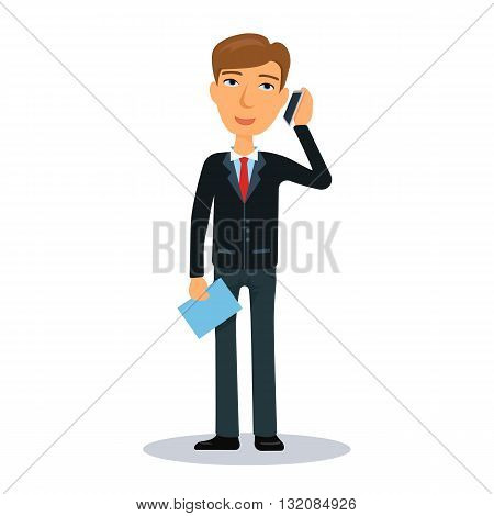 Businessman talking on a cell phone. Business man character. Broker, manager or dealer. Flat vector illustration.