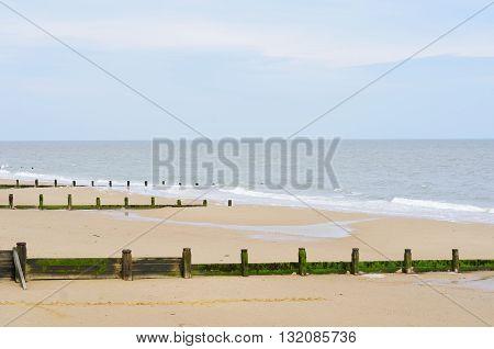 Sandy beach with breakwaters on english coast