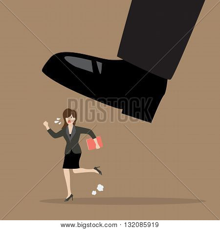Business woman run away from stomping foot. Business concept