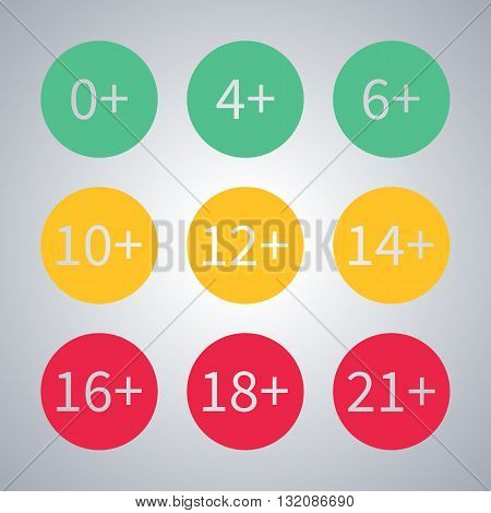 Icons age limit from zero to twenty-one vector illustration.
