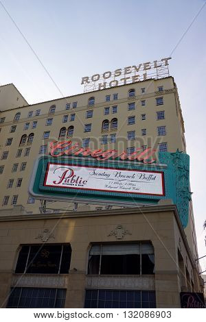 LOS ANGELES - JANUARY 23: facade of famous historic Roosevelt Hotel and Cinegrill in Hollywood USA. It first opened on May 15 1927. It is now managed by Thompson Hotels. on January 23 2014 Los Angeles.