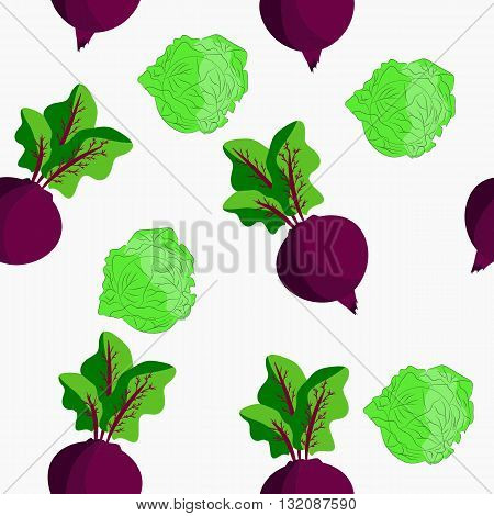 Seamless with cartoon beets and cabbages. It can be used for decoration kitchen accessories tablecloths fabrics cutting boards or other