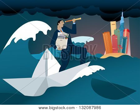 Fired and looking for new opportunities. A man with a box of his office belongings staying on a paper boat in the middle of a stormy ocean, looking through a spyglass at an island on the horizon.