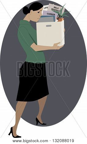 Getting fired. Woman holding a box of her work-related belongings, vector illustration