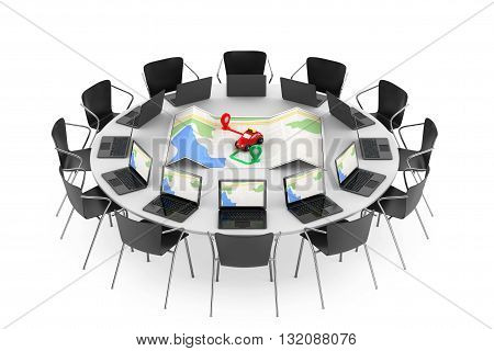 Chairs around a Table with Toy Taxi from above of Abstract Navigation Map in the middle on a white background. 3d Rendering
