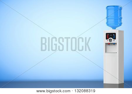 Water Cooler with Bottle on a blue background. 3d rendering