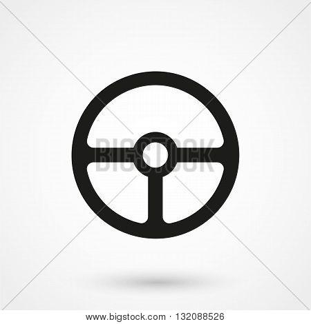 Steering Wheel Icon Black On White Background