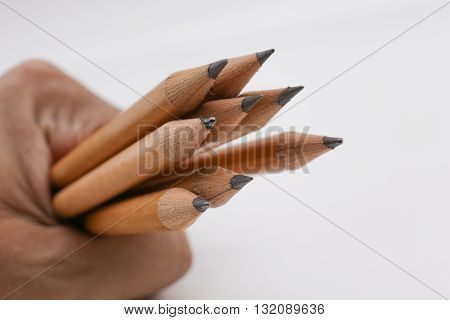 Pencil in hand  an instrument for writing