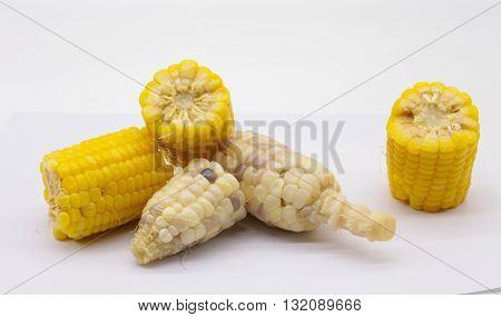 Yellow sweet corns isolate on white background