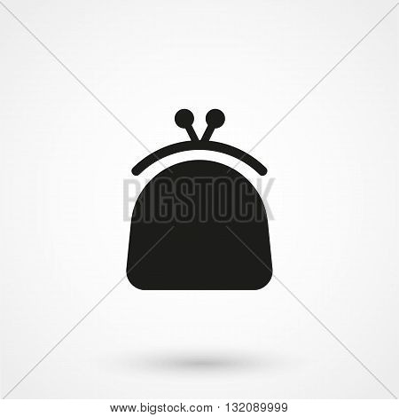 Purse Icon Vector Black On White Background