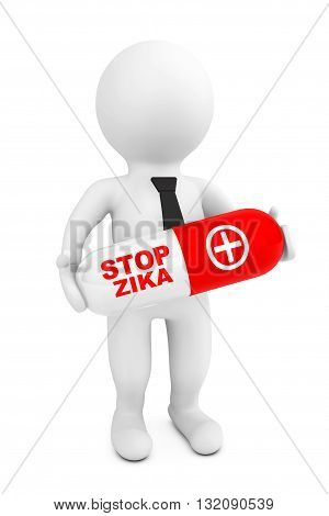 3d Person hold Pill with Stop Zyka sign on a white background. 3d Rendering