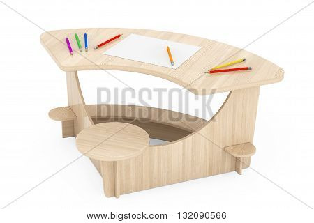 Wooden Study Kid Desk with Pencils and Picture Paper on a white background. 3d Rendering
