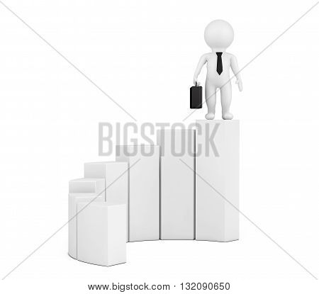 3d Person over Diagram on a white background. 3d Rendering