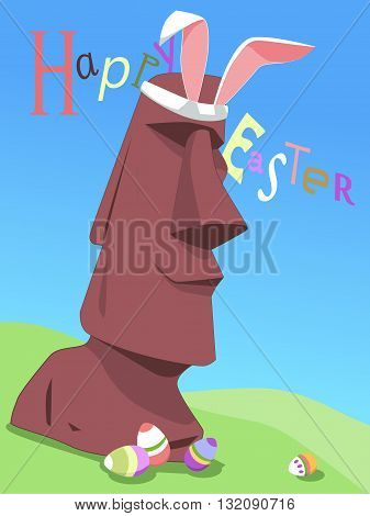 Happy Easter from Easter Island. Funny original Happy Easter card with Rapa Nui moai statue, vector template